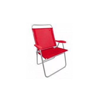 Cadeira Praia Aluminio Zaka King Vermelho Capacidade 140kg
