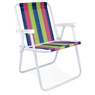 Cadeira Praia Mor 2224 Aço Pintado - Azul, Rosa e
