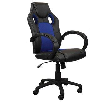 Cadeira Presidente Gamer em Couro PU Preta com Azul Pelegrin PEL-3002