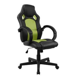 Cadeira Presidente Gamer em Couro PU Preta com Verde Pelegrin PEL-3002