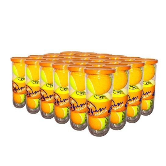 Caixa de Bola de Tênis Spin Soft 50 Caixa com 24 Tubos SPIN - Amarelo+Laranja