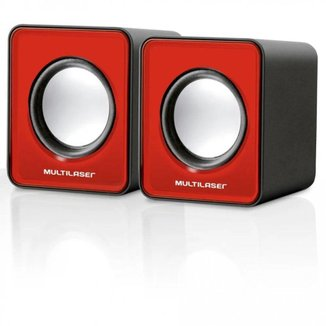 Caixa de Som 2.0 Mini 3W Rms Multilaser Vermelho