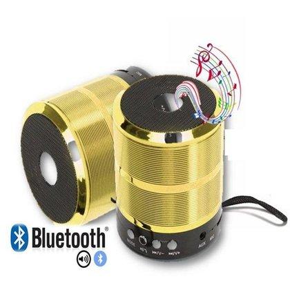 Caixa De Som Bluetooth 887 Fm Academia Aula Piscina Dourado