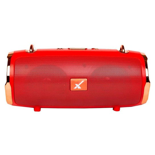 Caixa de Som Bluetooth Portátil Original Com Alça Metallic Premium Sem Fio - Vermelho