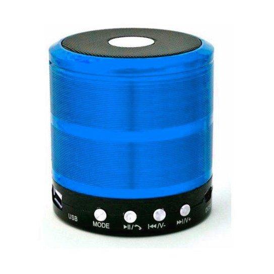 Caixa de Som Bluetooth Recarregável Mini Speaker Portátil USB Micro SD - Azul