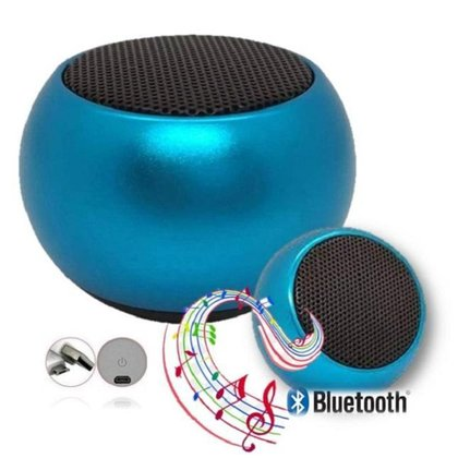 Caixa De Som Metal Azul Bluetooth Academia Festa Piscina
