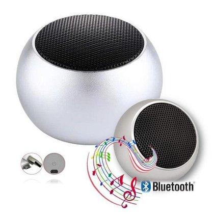 Caixa De Som Metal Prata Bluetooth Academia Festa Piscina
