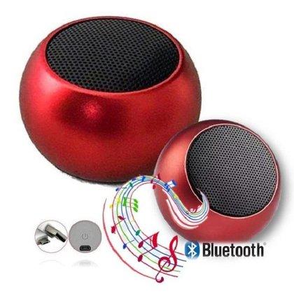 Caixa De Som Metal Vermelha Bluetooth Academia Festa Piscina