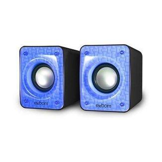 Caixa De Som Para Computador E Smartphone 6w Cs-86 Exbom Azul