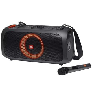 Caixa de Som Portatil JBL PartyBox On-The-Go Bluetooth Microfone Luzes 100W