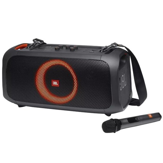 Caixa de Som Portatil JBL PartyBox On-The-Go Bluetooth Microfone Luzes 100W - Preto
