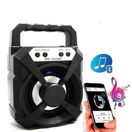 Caixa Portátil de Som Led Rádio Wireless Bluetooth MS-1620BT