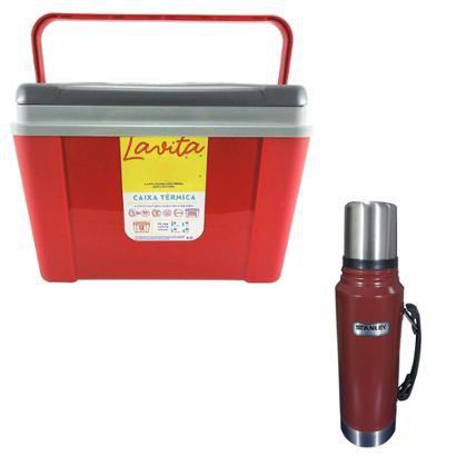 Caixa Térmica 12 Litros Lavita + Garrafa Térmica Stanley 1L Em Aço Inox - Unissex
