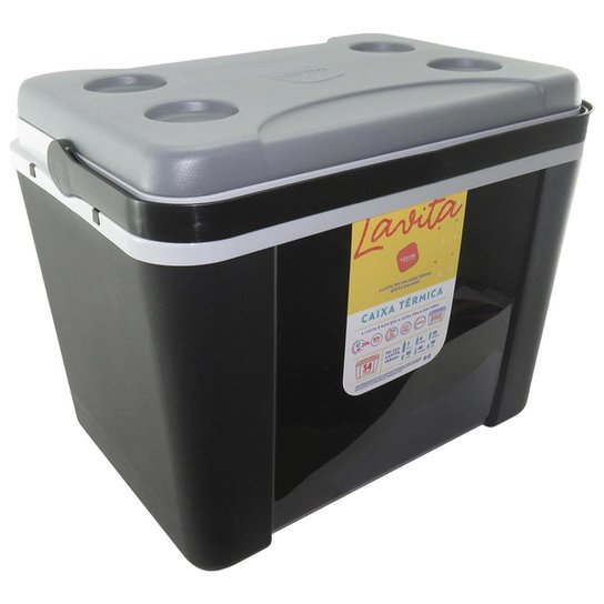 Caixa Térmica 34 Litros Lavita Com Alça - Preto