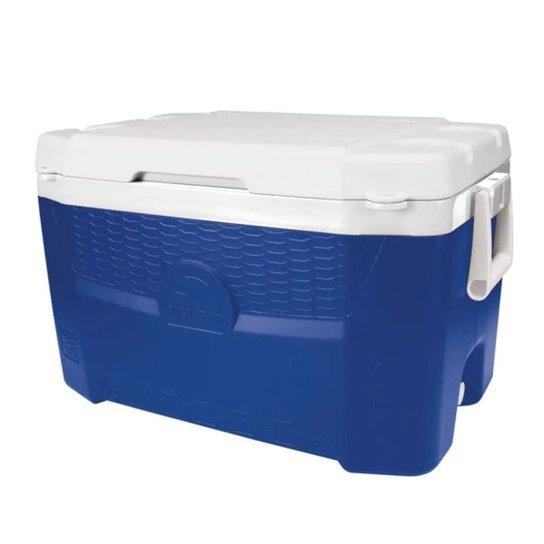 Caixa térmica Igloo com capacidade para 55 litros de amplo espaço interno Quantum 55 QT - Azul+Branco