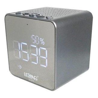 Caixinha De Som Lelong Com Radio Relogio Digital Bluetooth