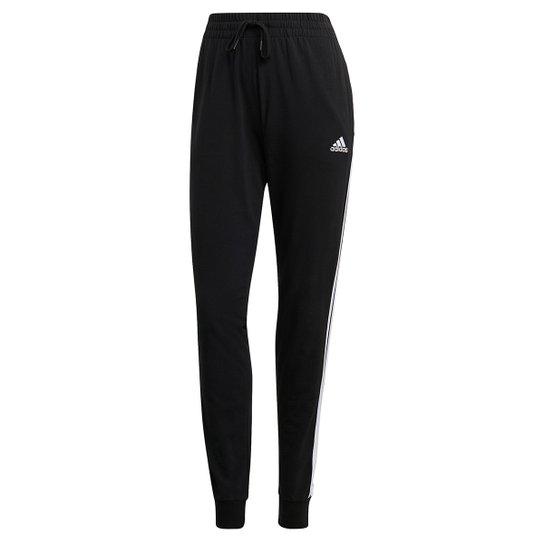 Calça Adidas Essentials 3 Listras Slim Feminina - Preto+Branco