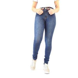 Calca Clement  Jeans Skinny Escura Bolso Traseiro Bordado