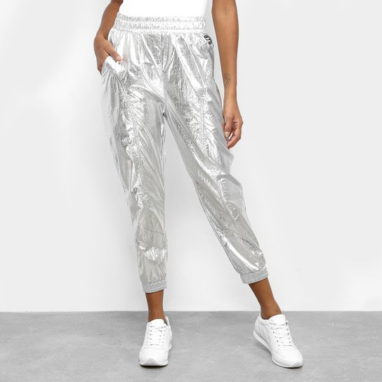 Calça Colcci Fitness Metalizada Feminina - Prata+Branco