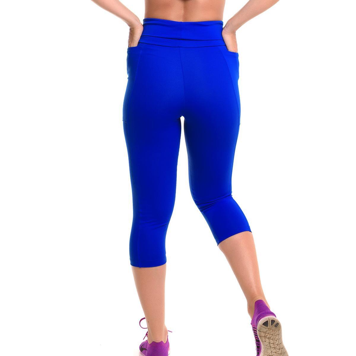 Azul Calça Sandy Corsário com Proteção Corsário Calça Run Solar Fitness UqwrzUx86