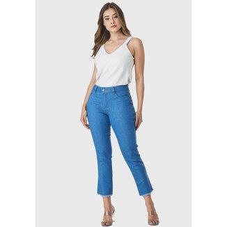 Calça Cropped Jeans HNO Jeans Skinny Azul Celeste