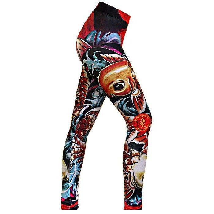 Calça Calça Fightwear de Vermelho de Compressão Spartanus Spartanus Koi Compressão CZqHwPZ
