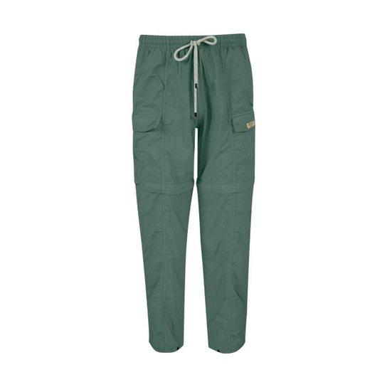 Calça feminina Ballyhoo com elástico na cintura, zíper na perna, com fator de proteção solar 50  UPF - Bege
