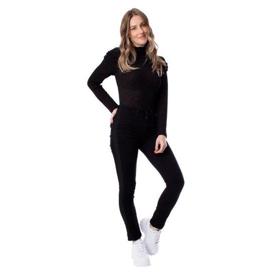 Calça Feminina em Sarja Max Denim Skinny Preto - Preto