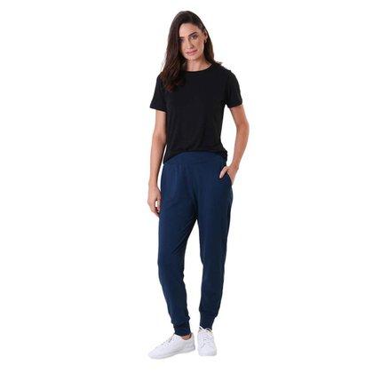 Calça Feminina Moletinho Jogger - Azul Marinho - GG