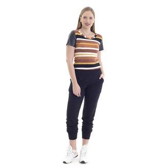 Calça feminina moletinho jogger com elástico na cintura