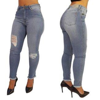 Calça Feminina Skinny Jeans Cós Alto Jéssica Det Sem Bainha