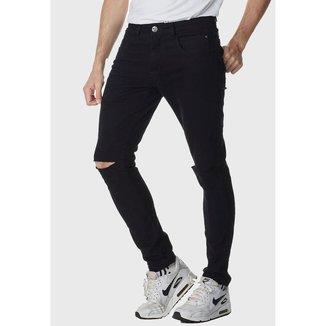 Calça HNO Jeans Premium Rasgada Skinny com Elastano Preto