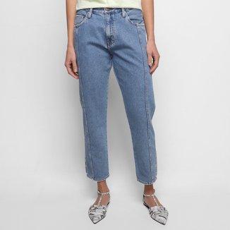 Calça Jeans Animale Jeans Boy Carrot Recortes Blue Barra Feminina