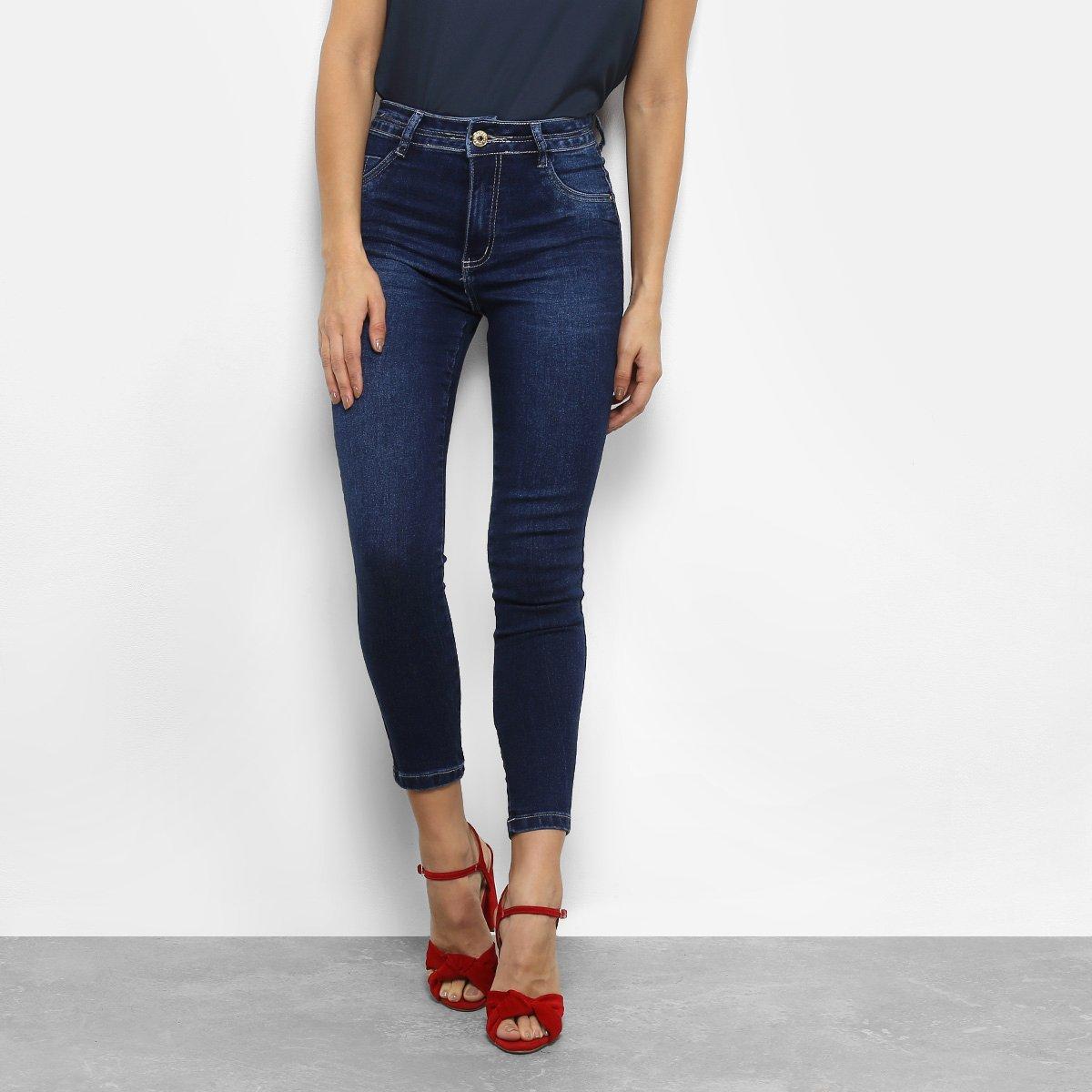 Calça Alta Calça Capri Jeans Cintura Biotipo Feminina Azul Jeans ZqZn5aS