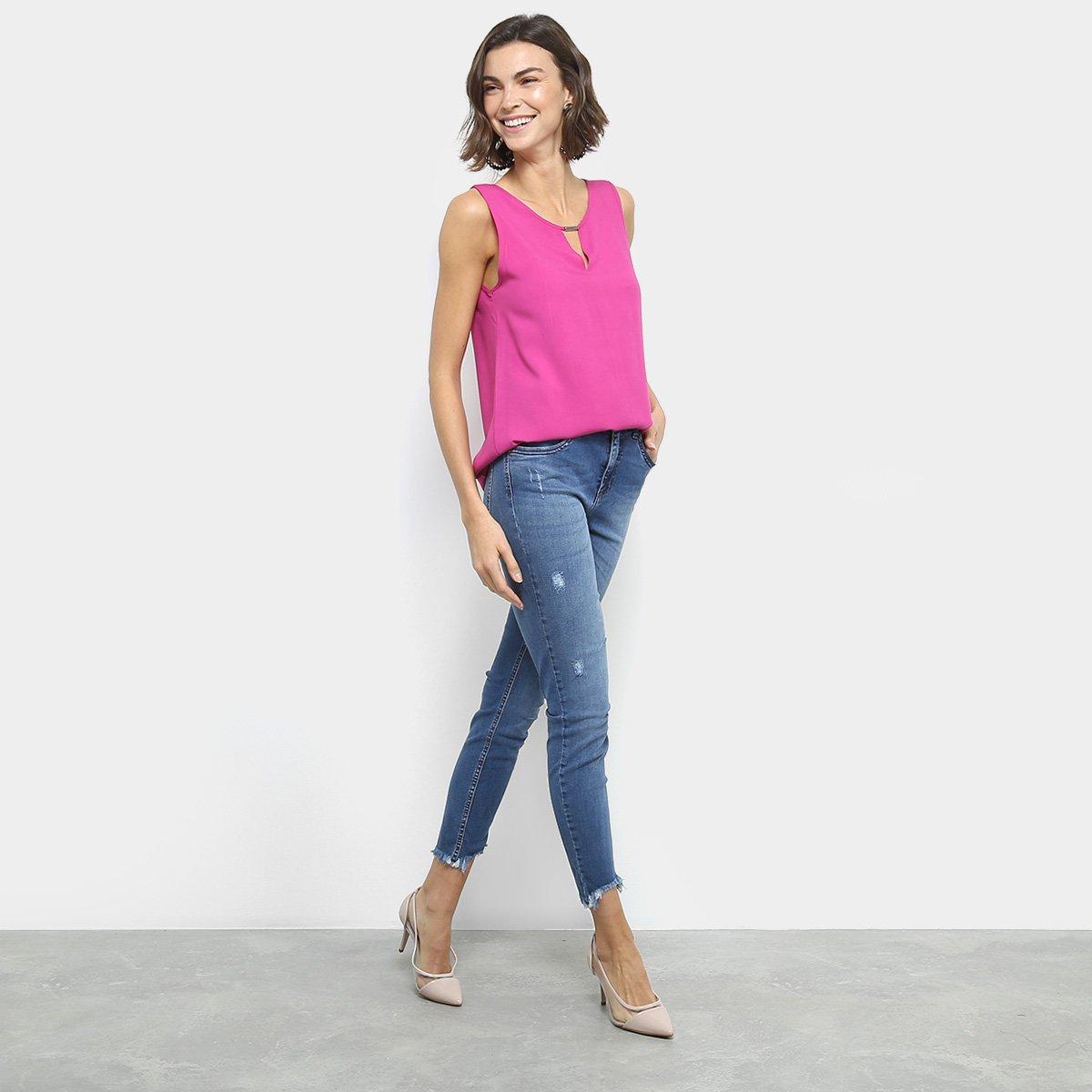 Calça Cigarrete Média Jeans Feminina Cintura Kim Calça Colcci Azul Jeans aw605
