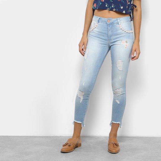 Calça Jeans Cigarrete Cropped Biotipo Cintura Média Feminina - Azul