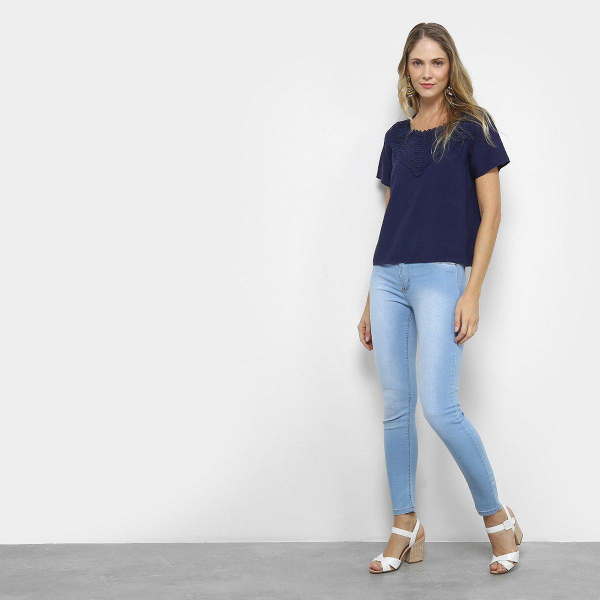 Estonada Calça Jeans Feminina Média Claro Sawary Azul Cintura Cigarrete pqqxBPtwz