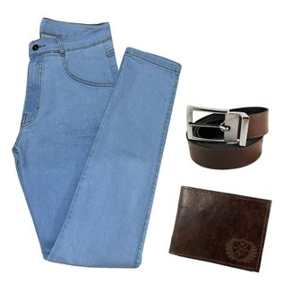 Calça Jeans Clara Masculina Skinny Com Elastano + Carteira + Cinto