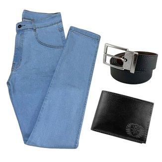 Calça Jeans Clara Skinny Masculina Com Elastano + Carteira + Cinto