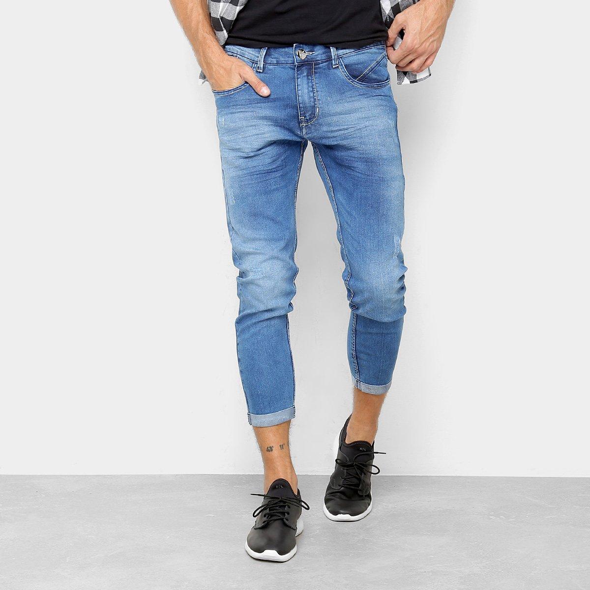 3d4b8105a Calça Jeans Cropped Preston Barra Dobrada Masculina - Azul | Netshoes