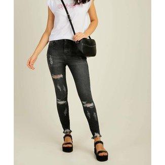 Calça Jeans Destroyed Feminina Skinny Barra Desfiada Marisa - 10045137723