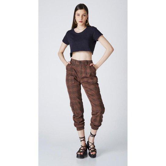 Calça Jeans Express Jogger Xadrez - Marrom