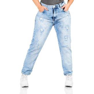 Calça Jeans Feminina Boyfriend Destroyed Cintura Alta