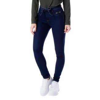 Calça Jeans Feminina Max Denim com Cinto Azul Escuro