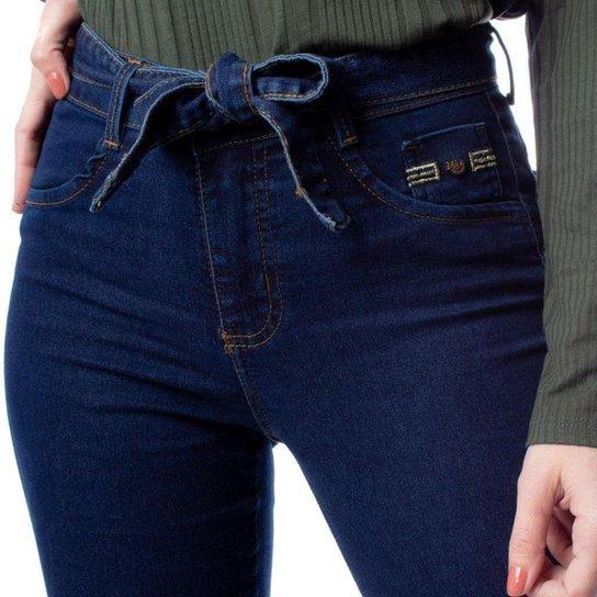 Calça Jeans Feminina Max Denim com Cinto Azul Escuro - Azul Escuro