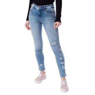 Calça Jeans Feminina Pitt Destroyed Azul Claro
