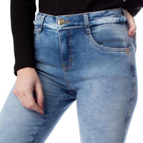 Calça Jeans Feminina Pitt Destroyed Azul Claro - Azul Claro