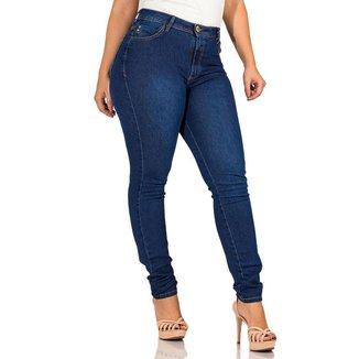 Calça Jeans Feminina Skinny Básica Cós Alto Com Bolso