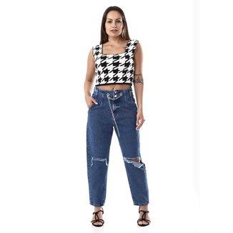 Calça jeans feminina slouchy - 268019 42
