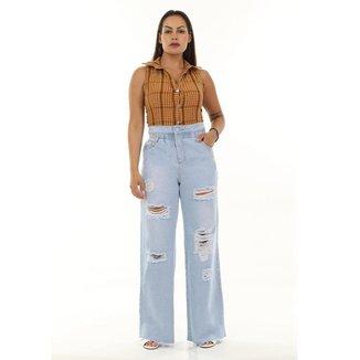 Calça jeans feminina wide leg - 268105 42